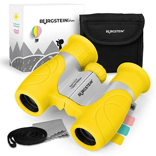 Burgstein®chen Fernglas für Kinder - Kompaktes Kinderfernglas 8x21 ab 3 Jahren, Leicht & Robust, inkl. Tasche, Reinigungstuch & Umhängeband (Sonnengelb)