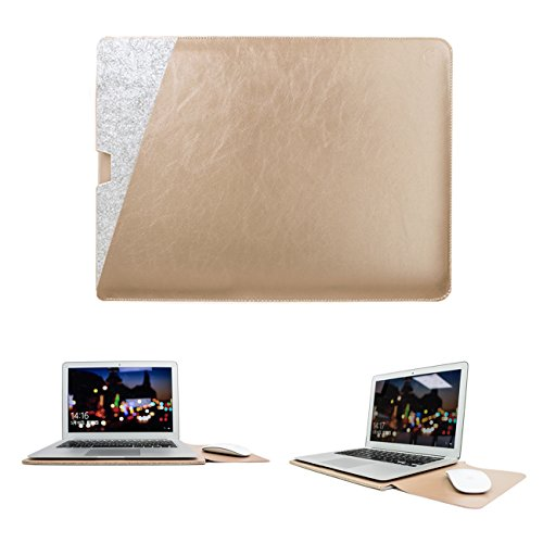 WALNEW 13-Inch Laptop Sleeve Case Bag for 13 Inch MacBook Air 2020/2019/2018 & MacBook Pro 2020/2019/2018/2017/2016, Soft PU Leather MacBook Cover with Built-in Mouse Pad and Dual Pockets, Gold
