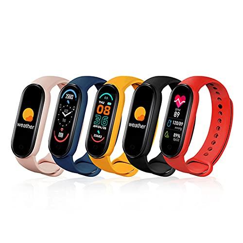 THappy Pulsera inteligente M6 con pantalla a color, rastreador de fitness, seguimiento de actividad física, monitorización de frecuencia cardíaca y sueño, reloj inteligente impermeable ip68 (fitpro)