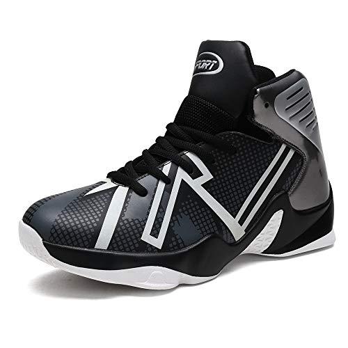 CXQWAN Chaussures de Basket-Ball Hommes, Haut Baskets Basses Sports Marche Chaussures de Course Haute Elasticité Non-Slip Convient pour Venues en Plastique intérieur et extérieur,Noir,41