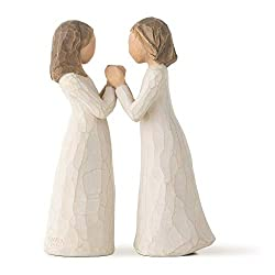 Sentiment: Celebrating a treasured friendship of sharing and understanding written on enclosure card Two 4.5 Inch hand-painted resin figures; hands of one figure fit into hands of other figure; ready to display on a shelf, table or mantel; to clean, ...