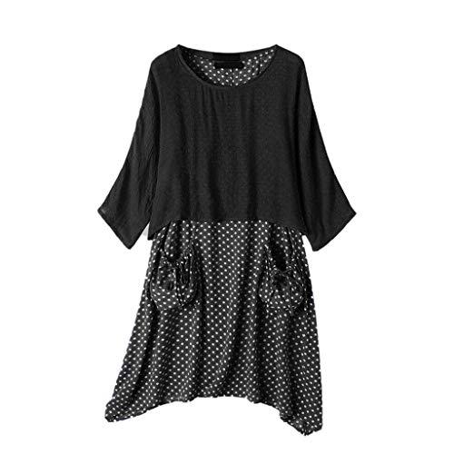 Dasongff dames zomerjurk tweedelige bovenstuk, tops + polka dots, draagjurk met tas, vintage, baggy, strandkleding, vrijetijdsjurk, onregelmatige jumpsuit, tshirt jurk, kaftan XXXXXL zwart