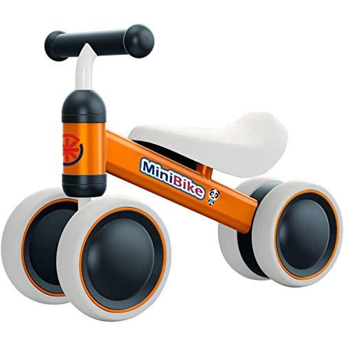 YGJT Kinder Laufrad ab 1 Jahr | Fahrrad Spielzeug für 10 - 24 Monate Junglen und Mädchen | Rutschrad Baby Geschenk für Ersten Geburtstag Neu Jahr (Orange)
