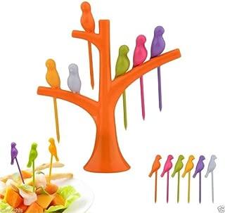 Chiefmax Fruit Dessert Fork Set - 6 pieces, Birds on a Tree (Orange)