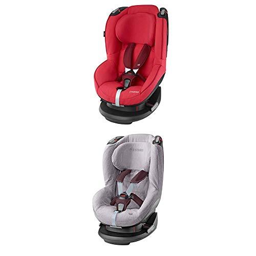 Maxi-Cosi Tobi, Kindersitz mit fünf komfortablen Sitz- und Ruhepositionen, Gruppe 1 Autositz (9-18 kg), nutzbar ab 9 Monate bis 4 Jahre, vivid red + Sommerbezug, cool grey
