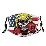 Bandera americana de EE. UU. Calavera con guantes de boxeo estrellas rayas día de la independencia polvo lavable filtro reutilizable y reutilizable boca caliente viento algodón cara