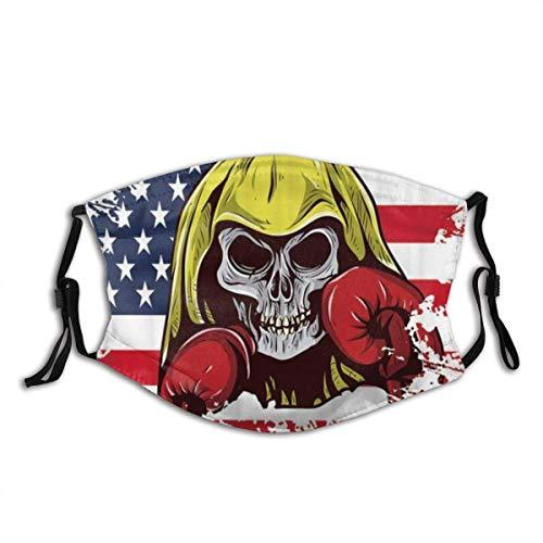 Anti-Staub-Gesicht schützen winddichten Schild mit Filter Usa American Flag Schädel mit Boxhandschuhen Sterne Streifen Independence Day Staubfilter Mund warm