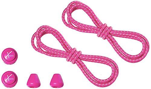 Xunits Schnürsenkel/Schuhbänder für Ihre Schuhe Schnellschnürsystem - elastisch, praktisch, schleifenlos und rund erhältlich: neon pink/reflektierend