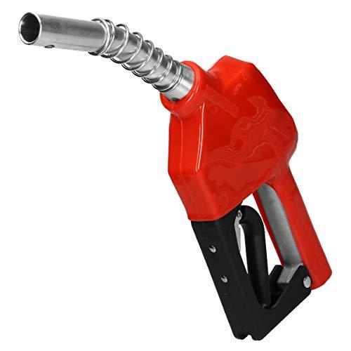 ECD Germany Pistola Automática Gasolina 60L / min para Diesel y Queroseno Conexión 3/4 Hecha de Plástico (Rojo) Tubo Aluminio Cerradura de Gatillo de 3 Etapas Bomba Transferencia Combustible