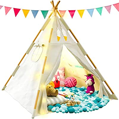 TazzToys Kids Teepee Tent for Kids with Fairy Lights - Kids Bedroom Set + Feathers + Waterproof Base