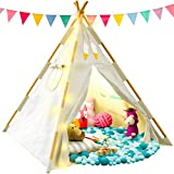 TazzToys Kids Teepee Tent for Kids with Fairy Lights - Kids Bedroom...
