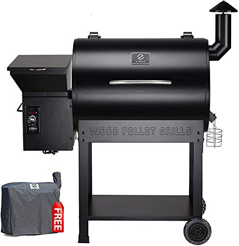 Z GRILLS Wood Pellet Newest GrillSmoker 7 in 1 Electric BBQ Grill – 700Sq.in Cooking Area for Outdoor BBQ Smoker Roast, Bake,Braise and BBQ Grill with Free Grill with Cover