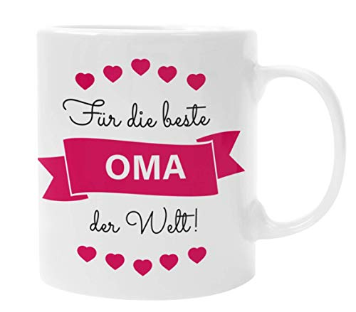 Oma Geschenke I Tasse mit Spruch Für die Beste Oma der Welt (Rot) I Geschenk für Oma von Enkel I Geburtstagsgeschenk für Oma