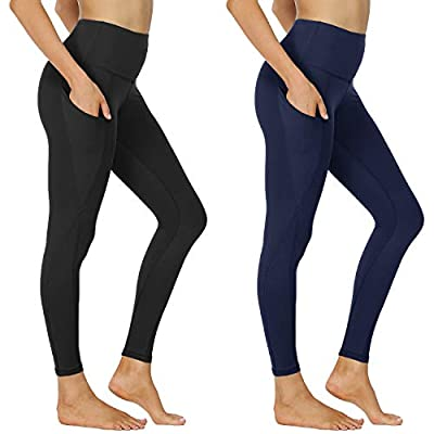 NexiEpoch 2 Pack Yoga Pants for Women - High Waisted Tummy Control Stretch Leggings with Side Pockets for Workout, Running