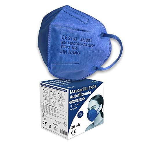 Audix Bitee 20 Mascarillas FFP2 – Color Azul - Homologada CE2163 - Envuelta Individualmente - Paquete 20 unidades