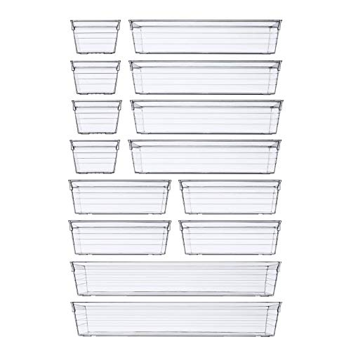 DCA Clear Plastic Drawer Organizer Tray For Kitchen