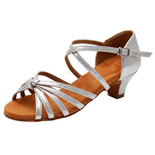 Mitlfuny Zapatos de Tango Latino para Niños Vestir Fiesta Arco Princesa Sandalias de Punta Descubierta Cuero Zapatitos de Tacón Bebé Niña Primavera Verano Zapatillas de Baile Niñas 4-15 Años