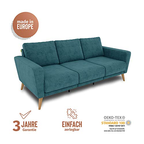 KAUTSCH Lotta Dreisitzer Sofa für Wohnzimmer zerlegbar - Couch 3-sitzer - Polstersofa - B 202 cm - ohne Longchair - Petrol - Holzfüße aus Eicher