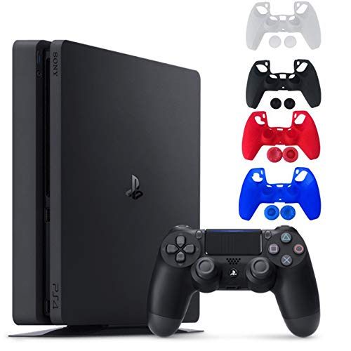 Sony Console Playstation 4-1TB Slim Edition Jet Black - with 1 DualShock 4 Wireless Controller - Family Holiday Gaming Bundle - iPuzzle 4 Colors Silicone Cover Skin Protector for PS4 Controller