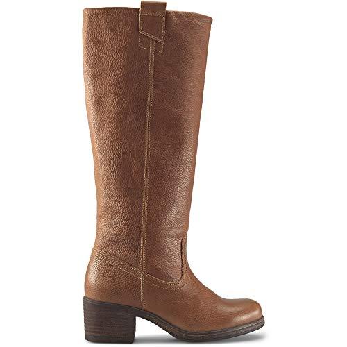 Cox Damen Gaucho-Stiefel Braun Strukturiertes Leder 41