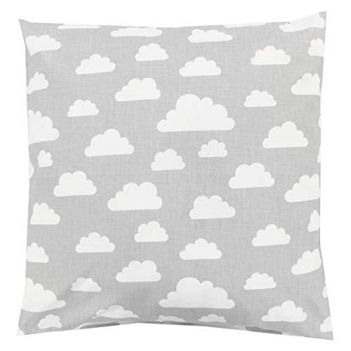TupTam Kinder Kissenbezug Dekorativ Gemustert, Farbe: Wolken Grau/Weiß, Größe: 40 x 40 cm