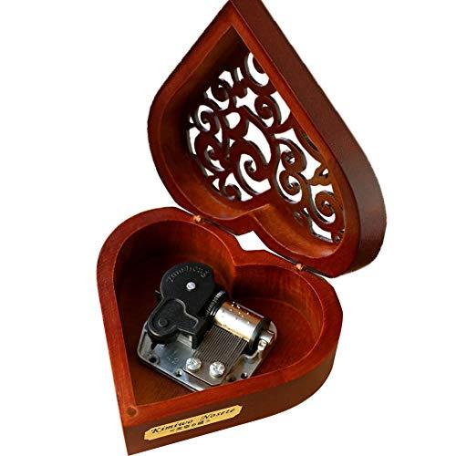 Youtang Boîte à musique créative en bois avec couvercle creux et 18 notes - Cadeau musical en forme de cœur - Jouez la Reine des neiges : Let it Go (mouvement argenté)
