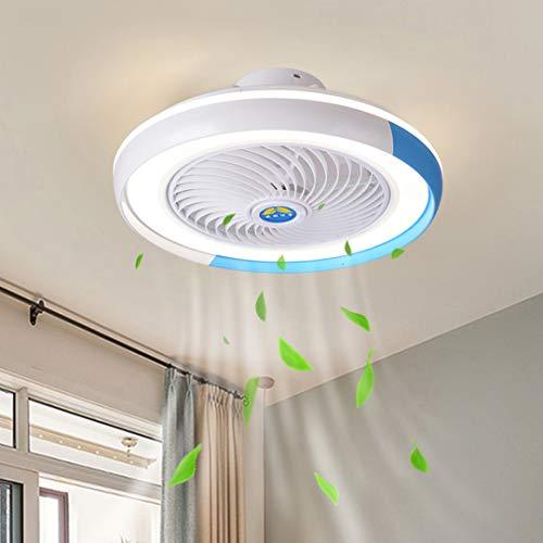Moderne LED Fan Deckenleuchte Dimmbar Deckenventilator Mit Beleuchtung Und Fernbedienung Unsichtbare Leise Wohnzimmer Schlafzimmer Kinderzimmer Deckenlampe Fan Hängelampe Ø50cm, 52W (D-Blau)