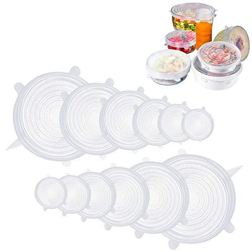 Fabsamb Coperchi in Silicone Estensibile Universali Riutilizzabili (12 Pezzi) Coperchio Per Contenitori, Tappi Silicone per alimenti