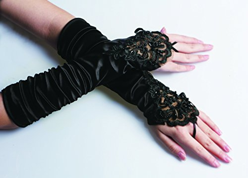 iLoveCos Opera Gloves Long Glove 1920s Accessories Flapper Costume Finger-less Lace Gloves Women Roaring 20' s Party Decoration Accessories Classic Satin Elbow Length Gloves (Black) steampunk buy now online