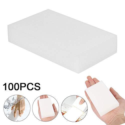 willkey 100 Stück Schmutzradierer Reinigungsschwamm Magic Eraser,Haushaltsschwamm Radiergummi Reiniger Schaumreinigung für Küche/Möbel/Auto/Leder,der ideale Reinigungsschwamm,Eco, Weiß