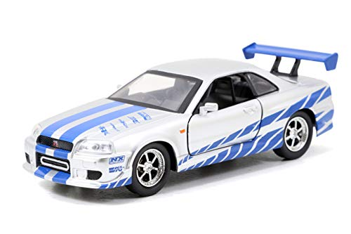 Jada Toys Fast & Furious 1:32 Brian's Nissan Skyline GT-R R34 Die-cast Car Silver/Blue, Toys for Kids and Adults