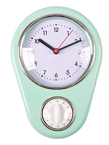 Unbekannt Retro Küchenuhr Mint mit Timer Wanduhr Kurzzeitmesser Eieruhr Küchentimer Uhr