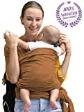 Bonne Vie Baby Wrap Carrier - Organic Cotton Baby Sling for Newborn, Infant & Toddlers - All-in-1 Stretchy Wraps for Men & Women - Lightweight Breastfeeding Sling (Caramel)