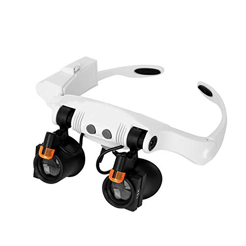 XJZHANG Lupa Gafas con 2 Luz LED Lupas Gran Aumento Lupa De Diadema Tipo Anteojos para Leer, Reparación De Joyería, Gafas Lupa Visera, Se Pueden Combinar 21 Aumentos