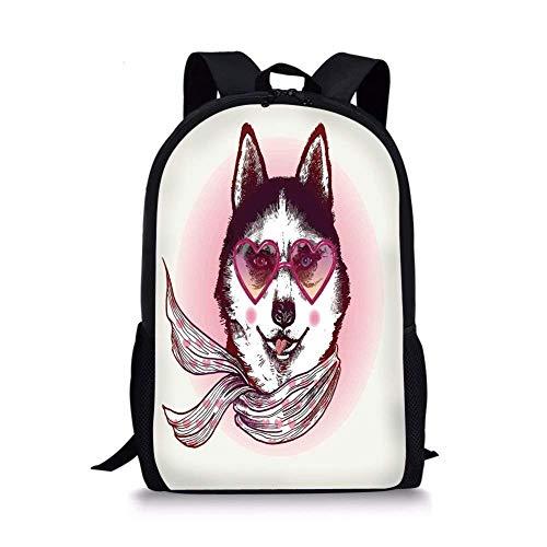 huatongxin Mochilas Escolares Decoración de Dibujos Animados, Hipster Husky Dog con Gafas de Sol en Forma de corazón y Bufanda Moda Animal Art Print, Pink Cream Black para niños y niñas Mens Sport
