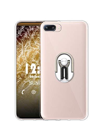 Sunrive Funda para XIAOMI MI 5, Soporte Teléfono Coche Silicona Transparente Gel Carcasa Case Bumper Anti-Arañazos Espalda Cover Anillo Kickstand 360 Grados Giratorio(Plateado)