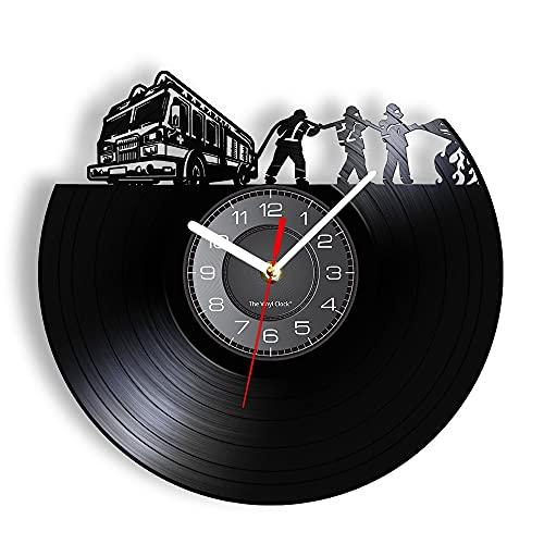 RFTGH Camión de extinción de Incendios Vintage Disco de Vinilo Reloj de Pared Placa artesanía decoración Departamento desinteresado Bombero Regalo de jubilación