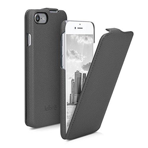 Preisvergleich Produktbild kalibri Flip Hülle Ultra Slim kompatibel mit Apple iPhone 7 / 8 / SE (2020) - Leder Case Schutzhülle Tasche in Grau