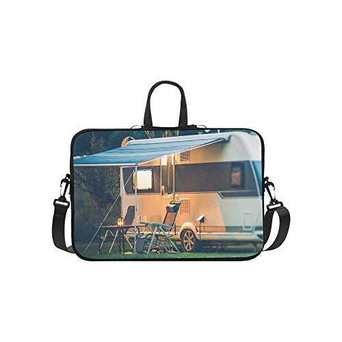 Große weiße und rote Camper Muster Aktentasche Laptoptasche Messenger Schulter Arbeitstasche Crossbody Handtasche für Geschäftsreisen