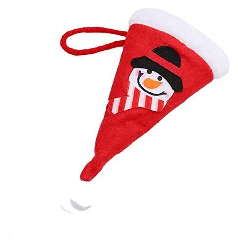 XIAOGING Copertura Decorazione Bottle cap Cappello da Babbo Natale Xmas Argenteria Tasche Porta-Lama della Forcella del Cucchiaio Vino Bag (Colore : Snowman)
