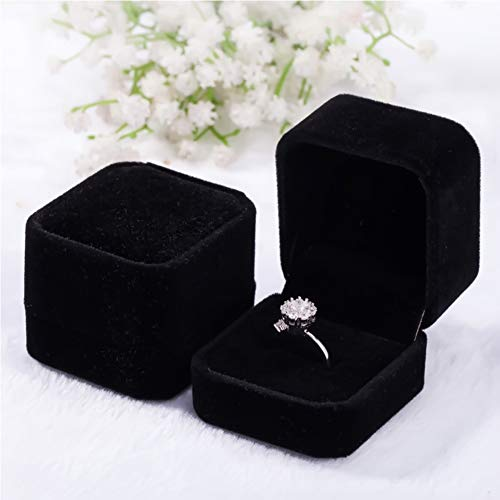 2 Pack Velvet Ring Boxes, Earring Pendant Jewelry Case, Ring Earrings Gift Boxes, Jewellry Display (Black, Ring Box)