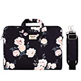 MOSISO Laptop Shoulder Bag Compatible with 13-13.3 inch MacBook Pro, MacBook Air, Notebook Computer, Camellia Carrying Briefcase Sleeve with Trolley Belt, Black