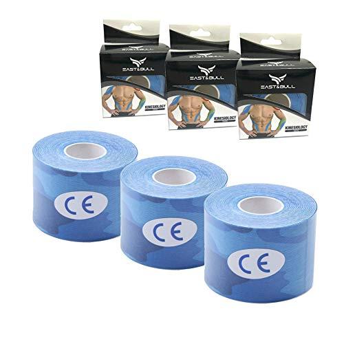 East&Bull - Nastro kinesiologico, Confezione da 3, 5 x 5 m, Bleu Camo x 3
