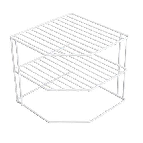 Estante de esquina de cocina de 3 niveles, marco de metal, acabado resistente a la corrosión, vasos, platos, armario y organización de despensa, cocina (9 x 8 pulgadas)
