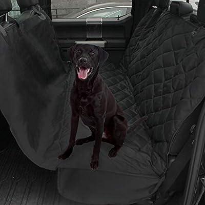 Plush Paws Ultra-Luxury Pet Seat Cover, Dog Car Hammock Protector Bench Rear Waterproof 100% Non-Slip Backing Anchors Side Flaps Machine Wash Black 2 Bonus Harness & 2 Seat Belts