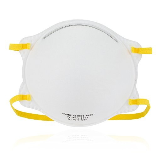 NIOSH Certified Makrite 9500-N95S Pre-Formed Cone Particulate Respirator Mask, SMALL Size (Pack of 20 Masks)
