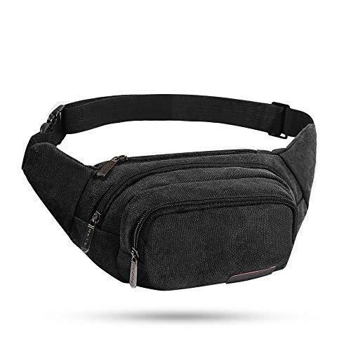 Evaduol Bauchtasche, Große Kapazität Gürteltasche aus verschleißfeste Canvas - Ideal für Spaziergang, Camping, Wandern, Radfahren - Brusttasche für Herren Damen | Schwarz