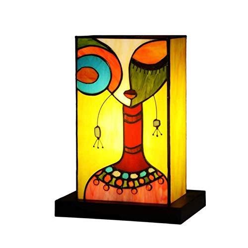 YEHEI Lámpara De Mesa De Noche Única Lámpara Tiffany Vidriera Hecha A Mano Lámpara De Noche con Luz De Escritorio para Sala De Estar, Dormitorio, Hotel, Oficina, Bar