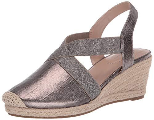 Bandolino Footwear Women's Espadrille Wedge Sandal, Pewter, 8.5