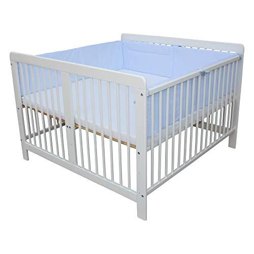 Zwillingsbett Zwillingskinderbett Kinderbett für Zwillinge massiv weiss mit 2 Matratzen 120x120cm + Nestchen blau